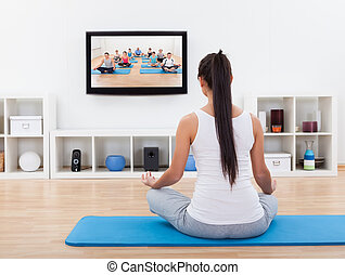 lar, espiritual, mulher meditando