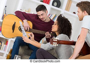 lar, faixa, compondo, jovem, música