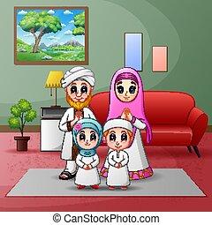 lar, família, ilustração, feliz, muçulmano