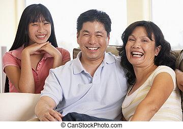 lar, família, junto, sentando