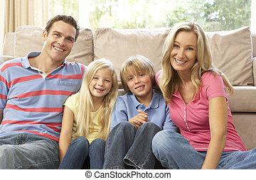 lar, família, relaxante, junto