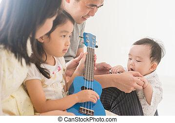 lar, família, tocando, ukulele