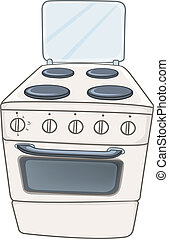 lar, fogão, caricatura, cozinha