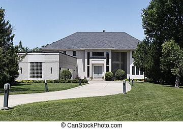 lar, garagem, janela, luxo, curvado