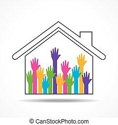 lar, grupo, cima, mãos