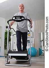 lar, homem, middle-aged, treadmill