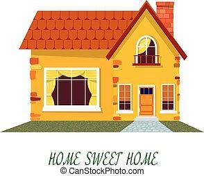 lar, house., casa, cozy, rural, caricatura, branca, amarela...