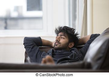 lar, indianas, sofa., relaxante, homem
