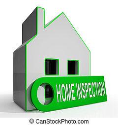 lar, inspeção, casa, meios, inspeccionar, propriedade, thoroughly