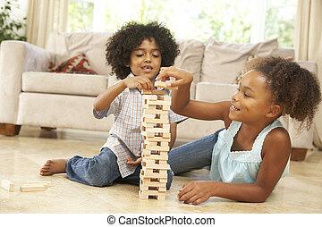 lar, irmã, jogo, irmão, tocando