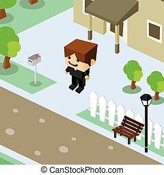 lar, isometric, residencial, caricatura, homem negócios