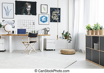 lar, janela, escritório, grande