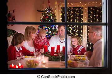 lar, jantar, desfrutando, natal, família