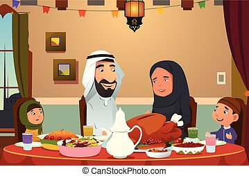 lar, jantar, muçulmano, comer, família
