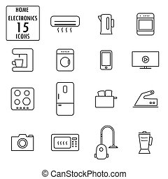 lar, jogo, eletrodomésticos, ícones