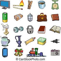 lar, jogo, relatado, objetos