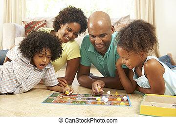 lar, jogo, tocando, família, tábua