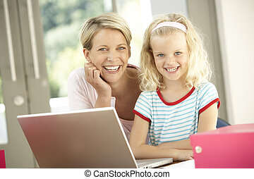 lar, laptop, filha, usando, mãe