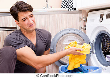 lar, lavanderia, jovem, marido, homem