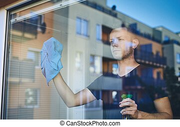 lar, limpeza janela, homem