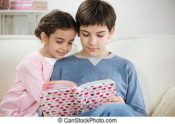 lar, livro, crianças, dois, leitura