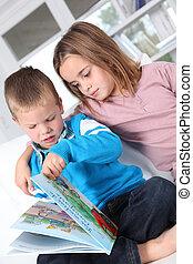 lar, livro, leitura, crianças