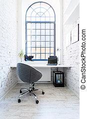 lar, luminoso, seu, escritório