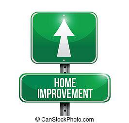 lar, melhoria, estrada, Ilustração, sinal