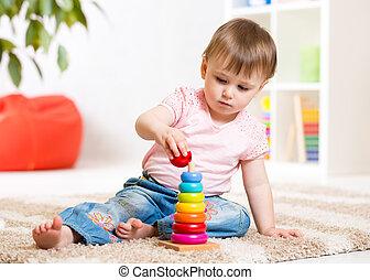 lar, menina, brinquedo, tocando, criança