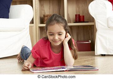 lar, menina, livro, jovem, leitura
