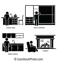 lar, mobília, built-in, ícones