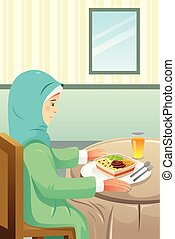 lar, muçulmano, comendo refeição, ilustração