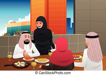 lar, muçulmano, comer, família