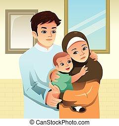 lar, muçulmano, família, ilustração