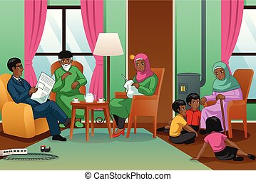 lar, muçulmano, ilustração, família, africano