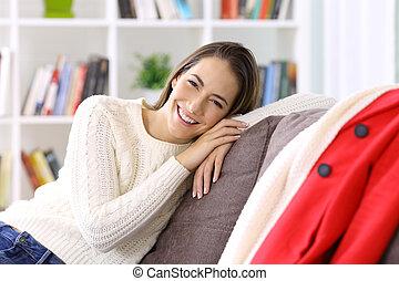 lar, mulher, posar, inverno, feliz