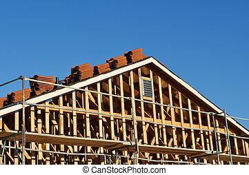 lar, novo, construção, sob