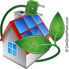 lar, painéis, solar, telhado