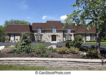 lar, pedra, luxo, ajardinar