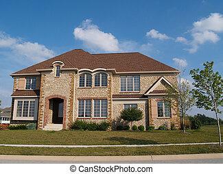 lar, pedra, residencial, história, dois