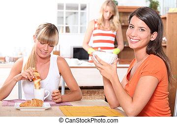 lar, pequeno almoço, mulheres, jovem, tendo