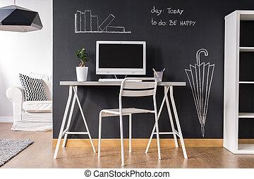 lar, pequeno, modernos, escritório