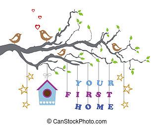 lar, primeiro, seu, cartão, saudação