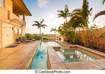 lar, quentes, pôr do sol, banheira, piscina