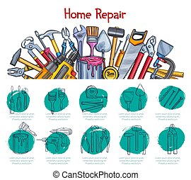lar repara, esboço, cartaz, de, vetorial, trabalho,...