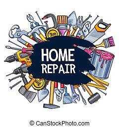 lar repara, trabalho, ferramentas, esboço, vetorial, cartaz