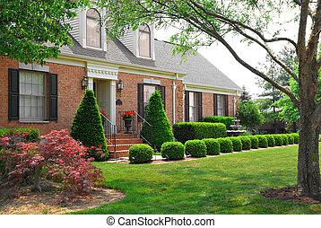 lar, residencial, história, tijolo, dois