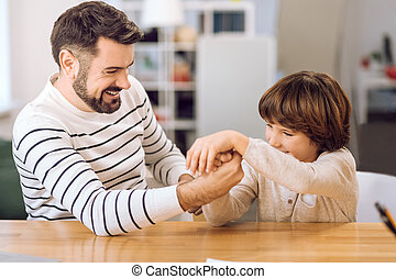 lar retrato, pai, tocando, filho