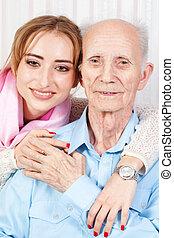lar, sênior, caregiver, dela, homem