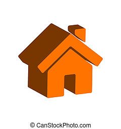 lar, símbolo., apartamento, isometric, ícone, ou, logo., 3d, estilo, pictograma, para, projeto teia, ui, móvel, app, infographic.